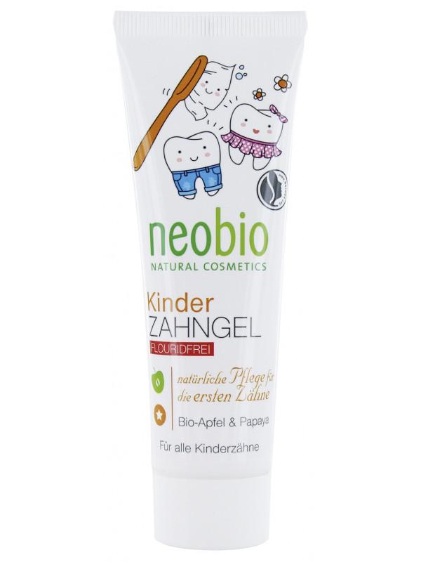 """Гелевая зубная паста для детей """"С био-яблоком и папайей"""", без фтора NeoBio, 50 мл"""